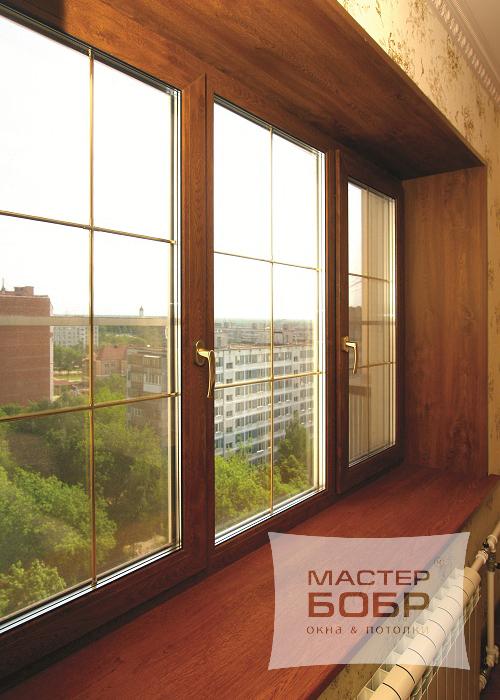 """Кашированные окна """"под дерево"""". коричневые пластиковые окна ."""
